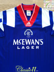 1992/93 Rangers Home '5 In A Row' Football Shirt (S)