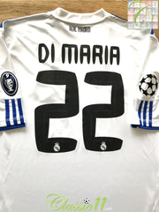 2010/11 Real Madrid Home Champions League Football Shirt Di Maria #22 (XL)