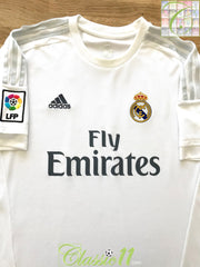 2015/16 Real Madrid Home La Liga Football Shirt (S)
