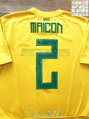 2011/12 Brazil Home Football Shirt Maicon #2 (M)