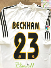 2004/05 Real Madrid Home La Liga Football Shirt Beckham #23 (XL)