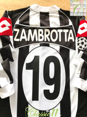 2002/03 Juventus Home Champions League Football Shirt. Zambrotta #19 (XL)