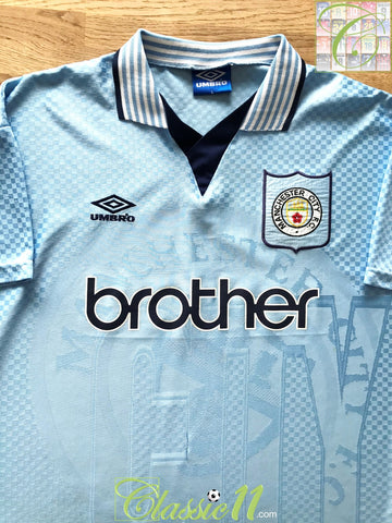 1995/96 Man City Home Football Shirt (L)