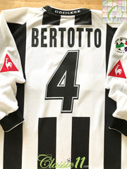 2003/04 Udinese Home Serie A Football Shirt Bertotto #4 (XL)