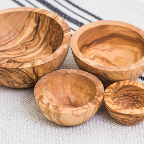 HANDCRAFTED OLIVE WOOD NESTING BOWLS - SET of 4