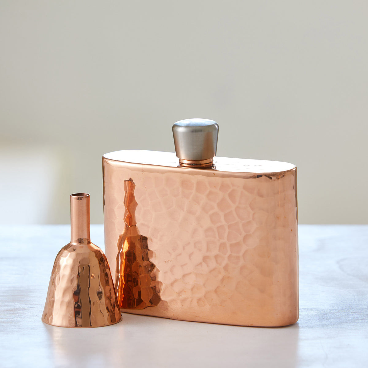 HAND-HAMMERED COPPER FLASKS with FUNNELS