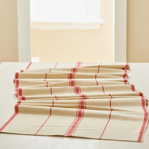 LINEN TABLE RUNNER - RED STRIPE