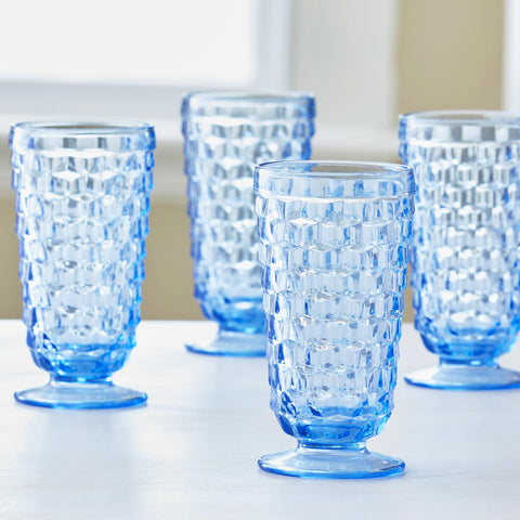 VINTAGE PALE BLUE ICED TEA GLASSES