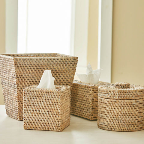RATTAN WASTE BASKET