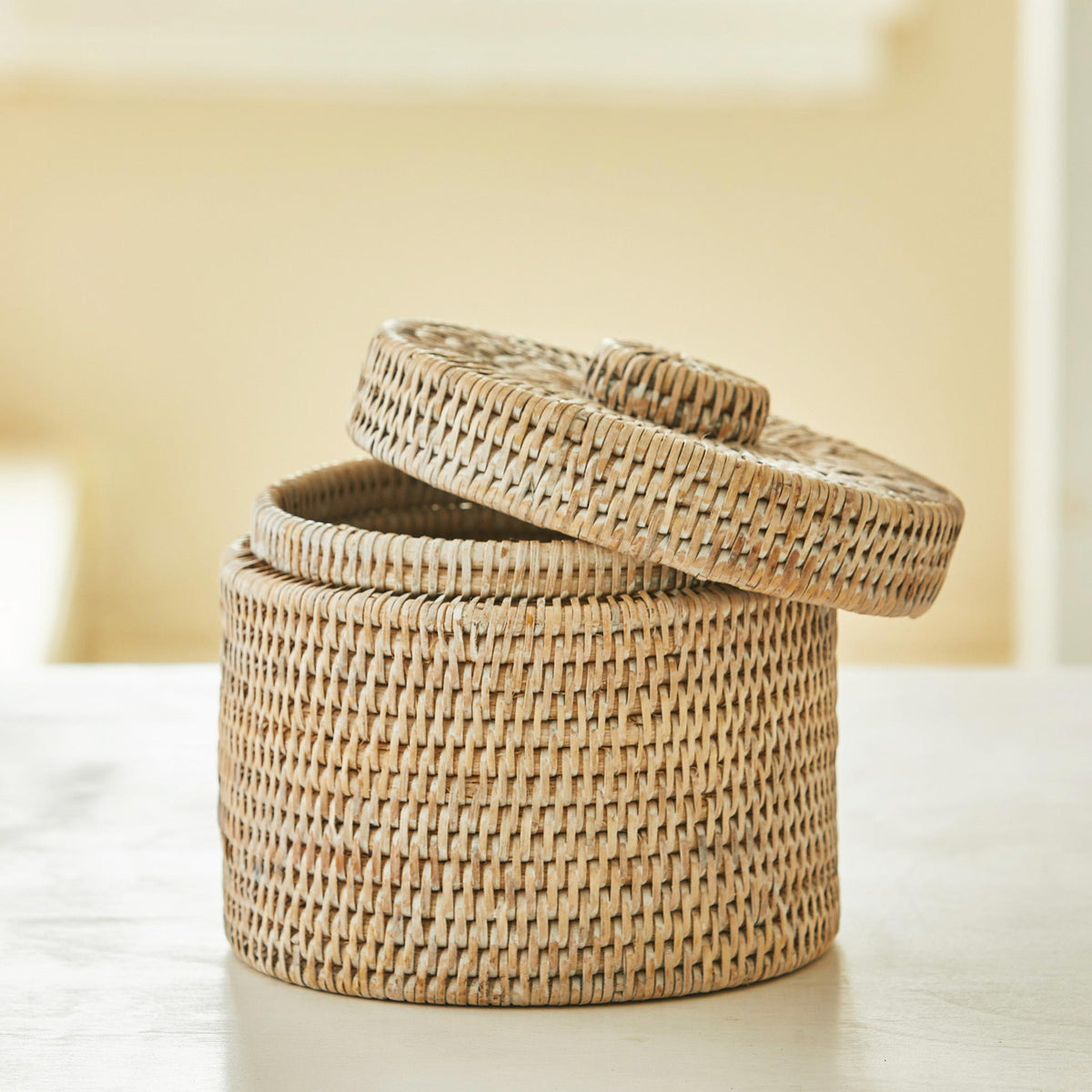Beautiful Rattan Toilet Roll Holder. Traditional craftsmanship, tough, durable rattan toilet roll storage with lid. Natural and sustainable.