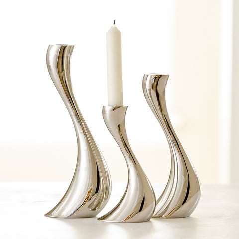 GEORG JENSEN STAINLESS STEEL COBRA CANDLESTICKS, SET OF 3
