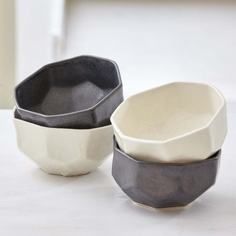 HANDCRAFTED FACETED CERAMIC BOWLS