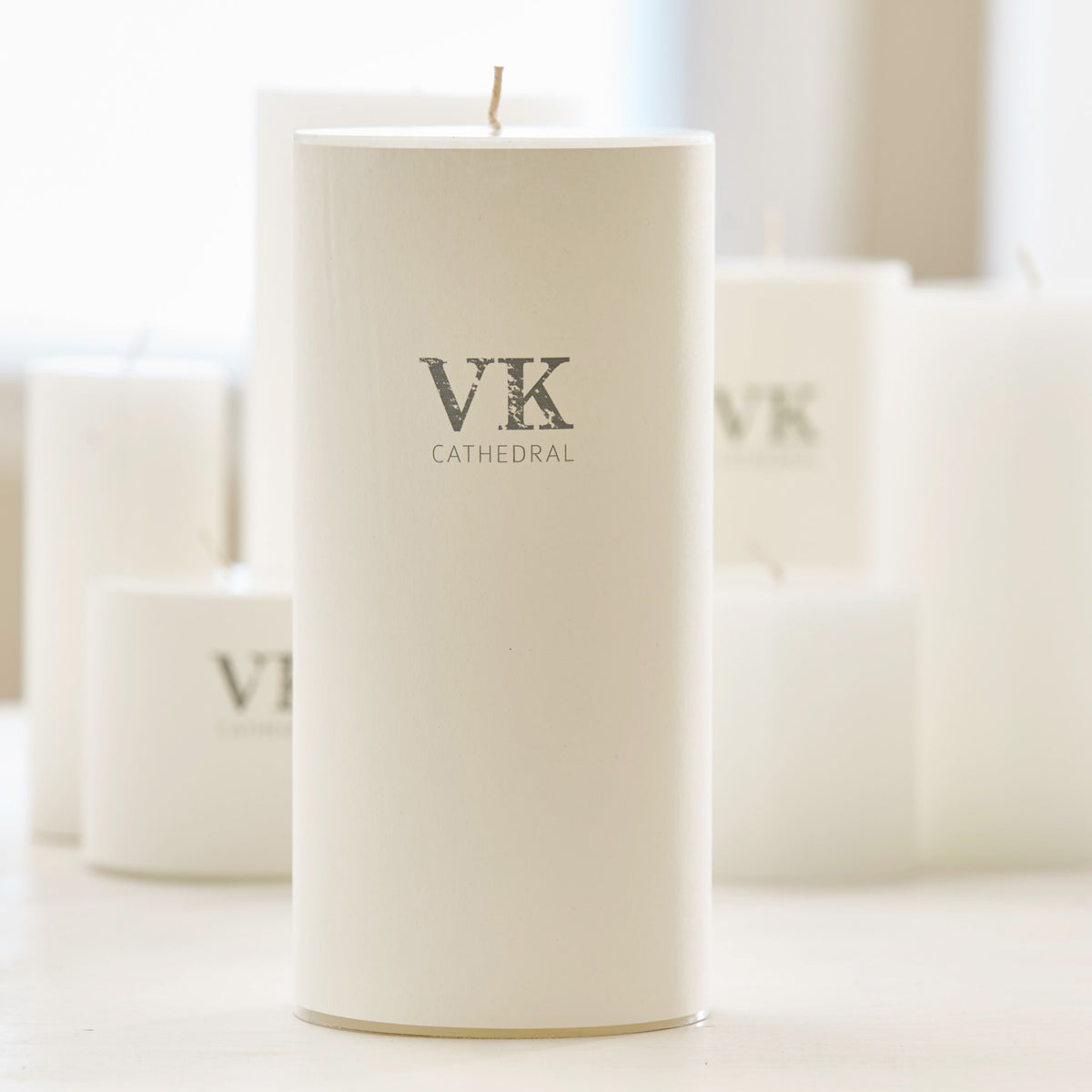 HAND-POURED WHITE CATHEDRAL PILLAR CANDLES