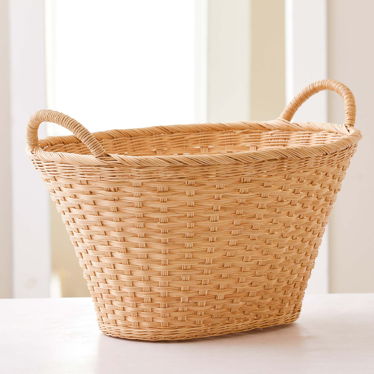 Beautiful Laundry basket. Traditional Laundry basket shape and handles. Tall, tough and durable laundry basket that is handmade and natural.