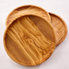 HANDCRAFTED OLIVE WOOD ROUND PLATE