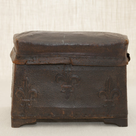 ANTIQUE ITALIAN LEATHER BOX, ONE-of-a-KIND