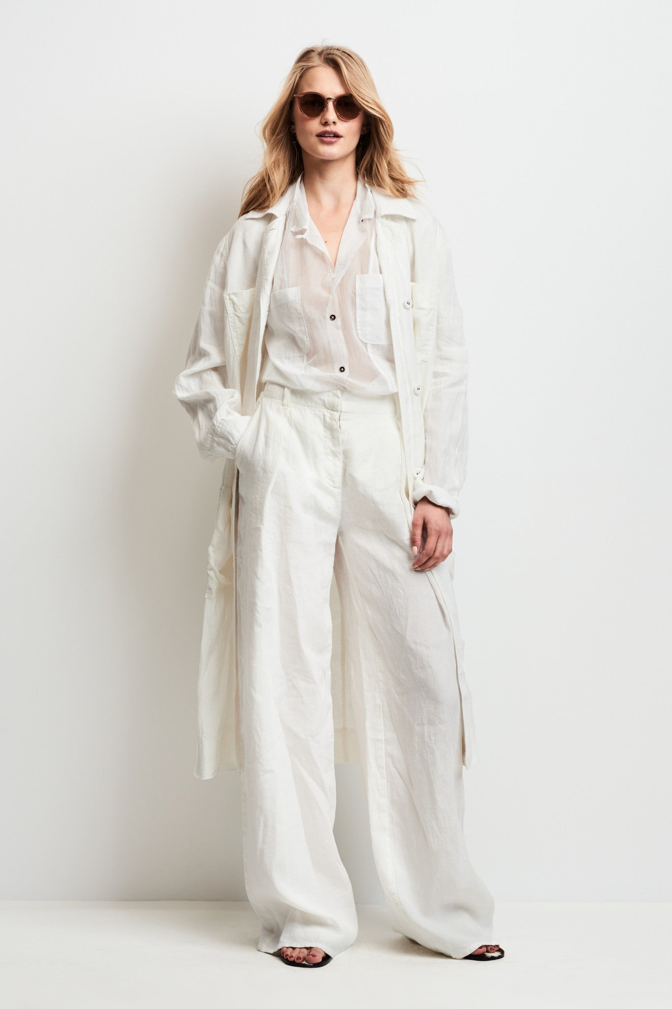 washed linen trench