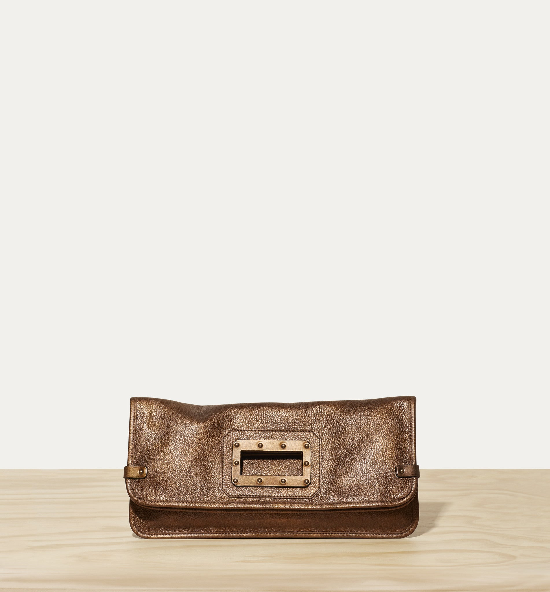 bronze leather clutch for women