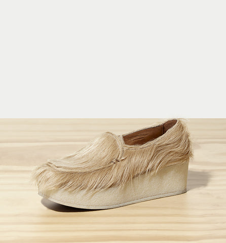 sherpa wedge loafer