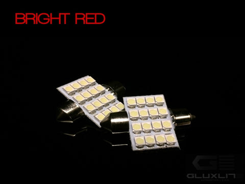DE3175, DE3423, DE3022. BRIGHT RED 16 SMD LED Festoon Bulb.
