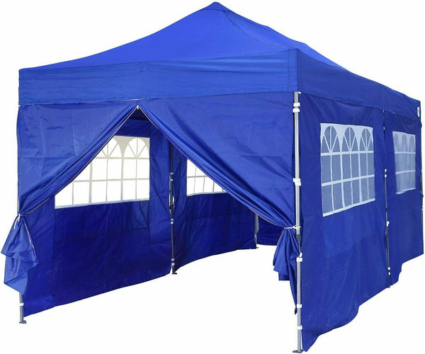 Ainfox 100% Waterproof Pop-up Canopy Tent 10x20ft with 6 Sidewalls, Folding Commercial Gazebo Party Tent, PVC, Sand Bags