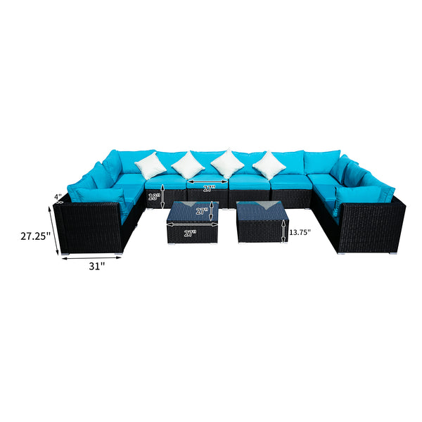 Ainfox Outdoor Patio Furniture PE Rattan Wicker Sectional Sofa Sets with  Blue Pillows,Cushions+ White Pillows