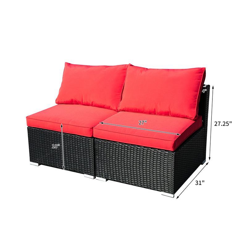 Ainfox Outdoor Patio Furniture 2-12 Pieces PE Rattan Wicker Sectional Sofa Sets with  Red Pillows,Cushions White Pillows