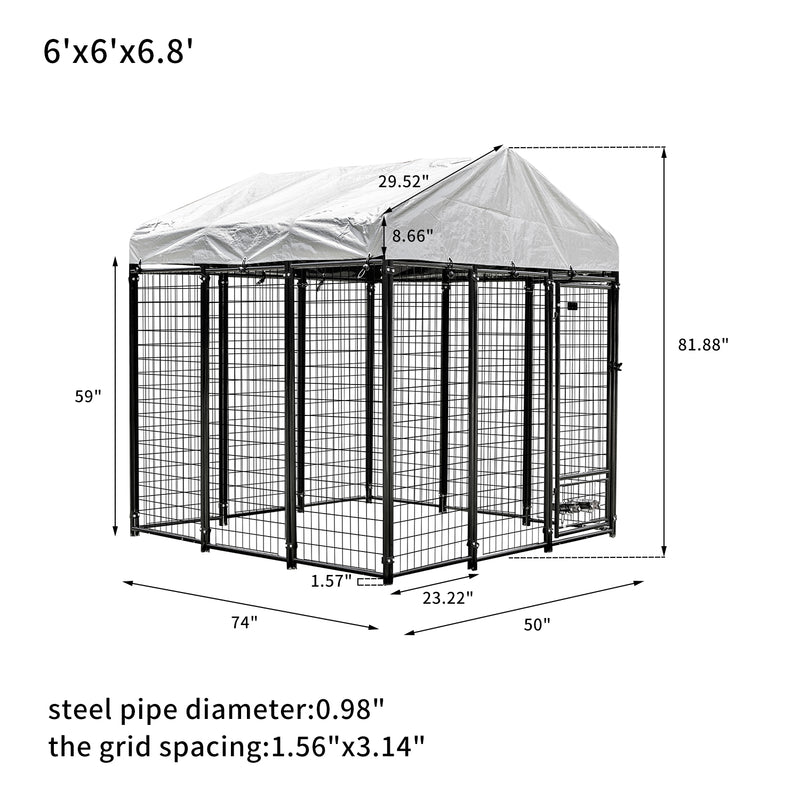 Ainfox Welded Wire Dog Kennel,Outdoor Heavy Duty Pet Kennel with UV Protection and Waterproof Trap Cover Automatic Lock Rotatable Window 2 Stainless Steel Bowls Black