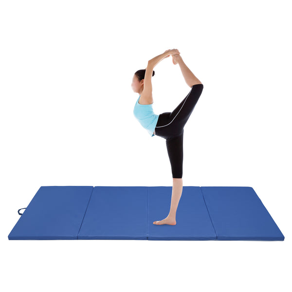 Ainfox 4'x10'x2 Gymnastics Gym Mat , Folding PU Panel,for Exercise Tumbling Gym Aerobics Yoga Stretching Martial arts Fitness Mat, Hook & Loop Fasteners