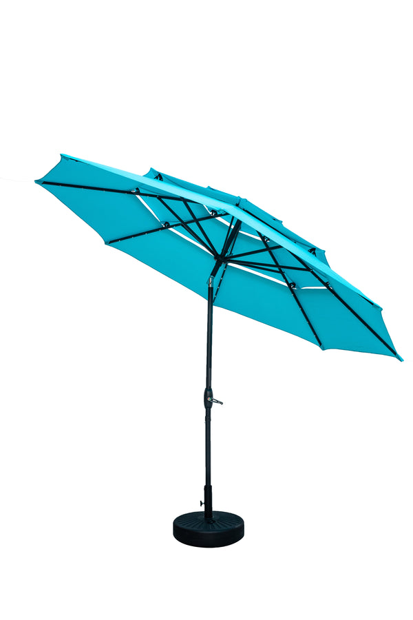 Ainfox 3 Tiers Patio Table Umbrella with Solar Lights Outdoor 10, Tilt and Crank, 8 Sturdy Ribs, Solar Power, With Seven Different Colors