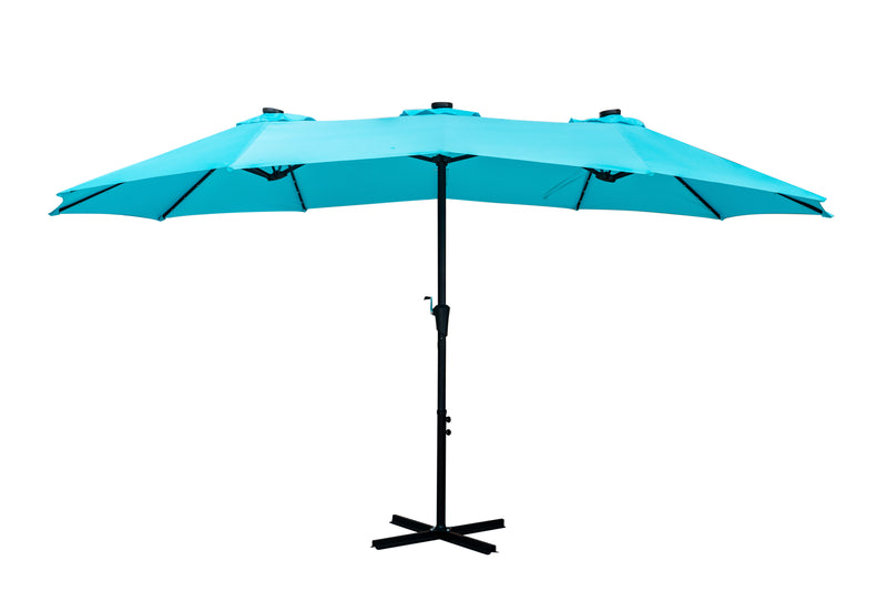 Ainfox Oversize Outdoor Market Patio Umbrella -15 x 8.8' Solar Lighted 48 Led Light - Base is not included
