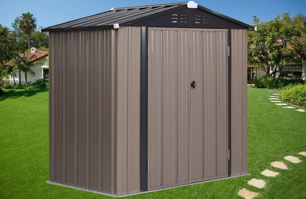 Ainfox- 6'x4'x6' Outdoor Metal Garden Storage Shed Tool House with 2 Doors & Lock