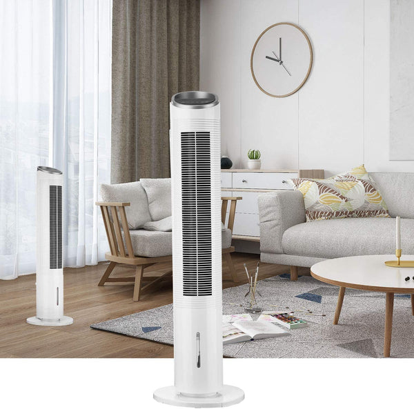 39 Inch Portable Electric Oscillating Tower Fan With Remote Control,Fanned The Cooling Wind,Air Cooler LED Display Stand Up Floor Fans White