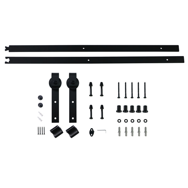 Ainfox 6FT Heavy Duty Sliding Barn Door Hardware Track Kit for Single Door Black,Includes Installation Instruction