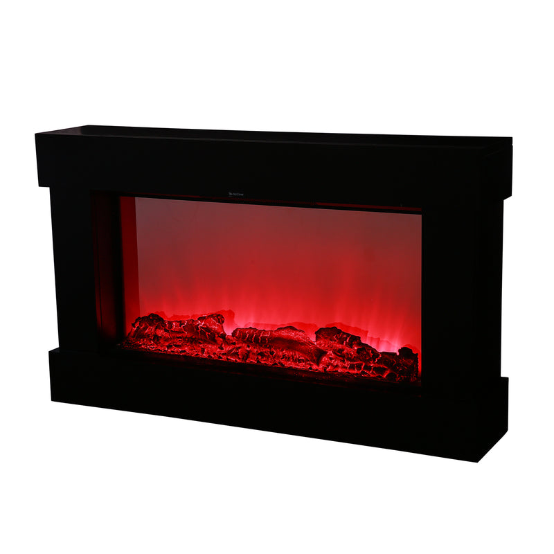 "Ainfox Electric Fireplace Stove with 3D Flame Adjustable Infrared Heater Thermostat with Remote Wood Metal Black 1500W 700W (38""x3.7""x22.4"")"