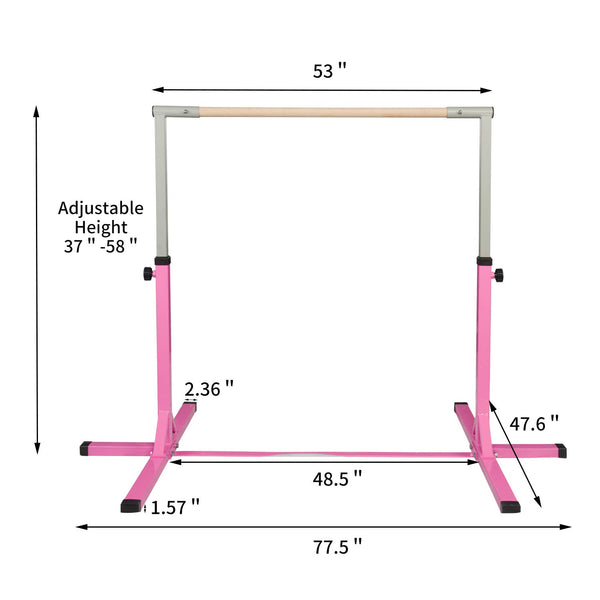 Ainfox Gymnastics Bar, Adjustable Height 3' to 5' Horizontal Kip Bar/Fitness Gymnastics Training Bar for Kids