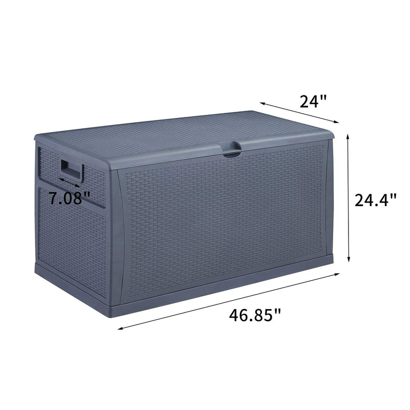 Ainfox 120Gallons Patio Storage Deck Box Outdoor Storage Plastic Bench Box UV Resistant & Fadeproof