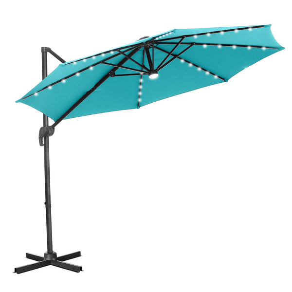 Ainfox 10 Ft Patio Offset Cantilever Umbrella 360°Rotation Garden Hanging Umbrella with Cross Base