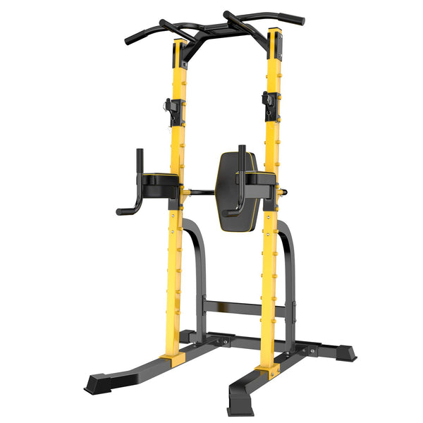 Wesfital Power Tower Multi-Function Home Strength Training Tower Dip Stands Workout Station Yellow
