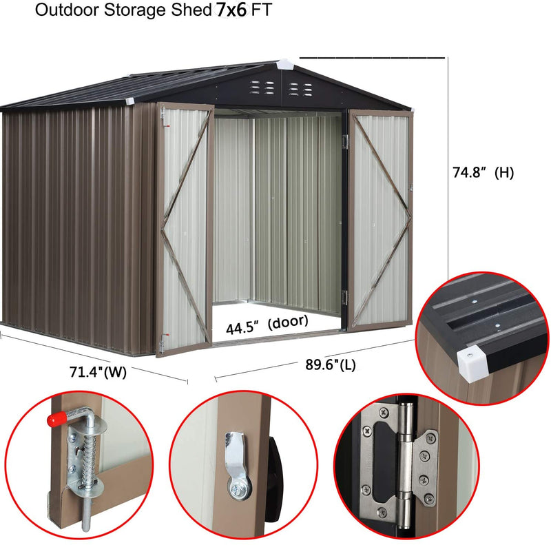 7'x6' Outdoor Steel Garden Storage Utility Tool Shed Large Storage Space with 2 Doors & Lock