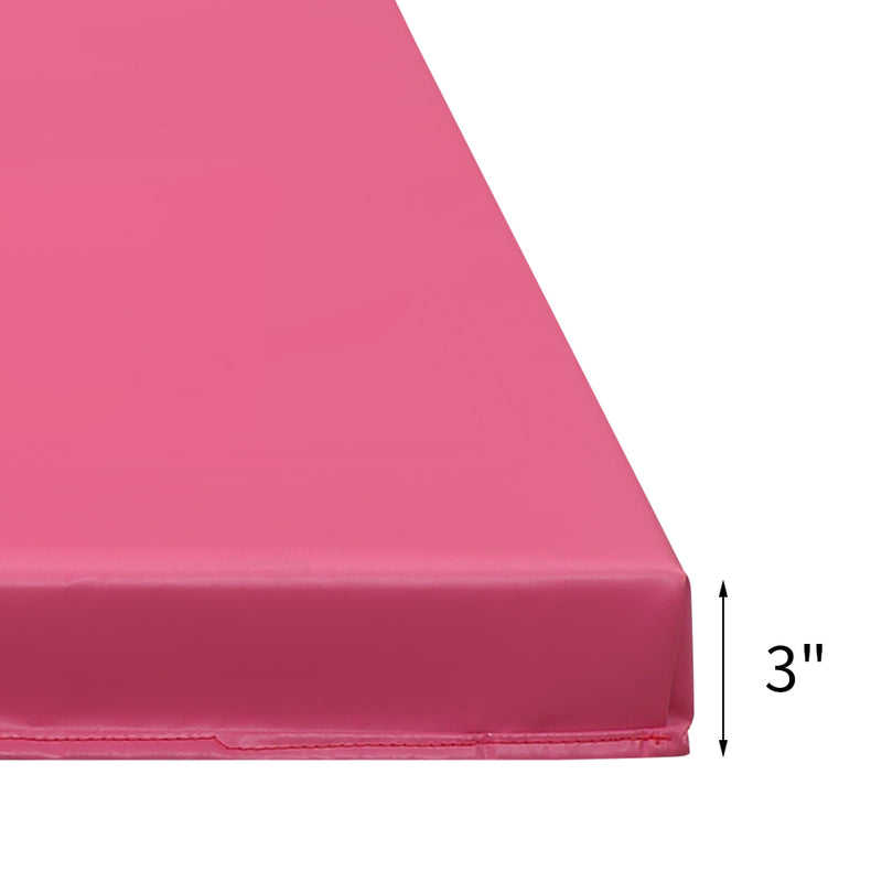 Ainfox Gymnastics Mats Thick Landing Mat Floor Exercise Mat Tumbling Mat Soft and Firm 4'x6'x3'' Pink