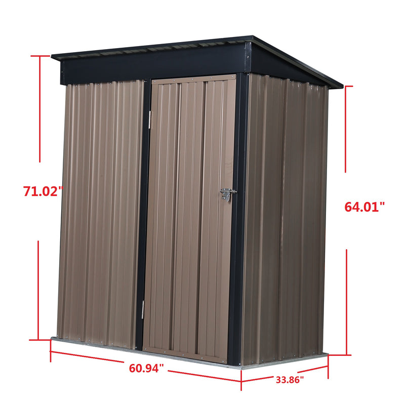 Outdoor Backyard Garden Metal Storage Shed for Utility Tool Storage w/Peak Style Roof Lockable