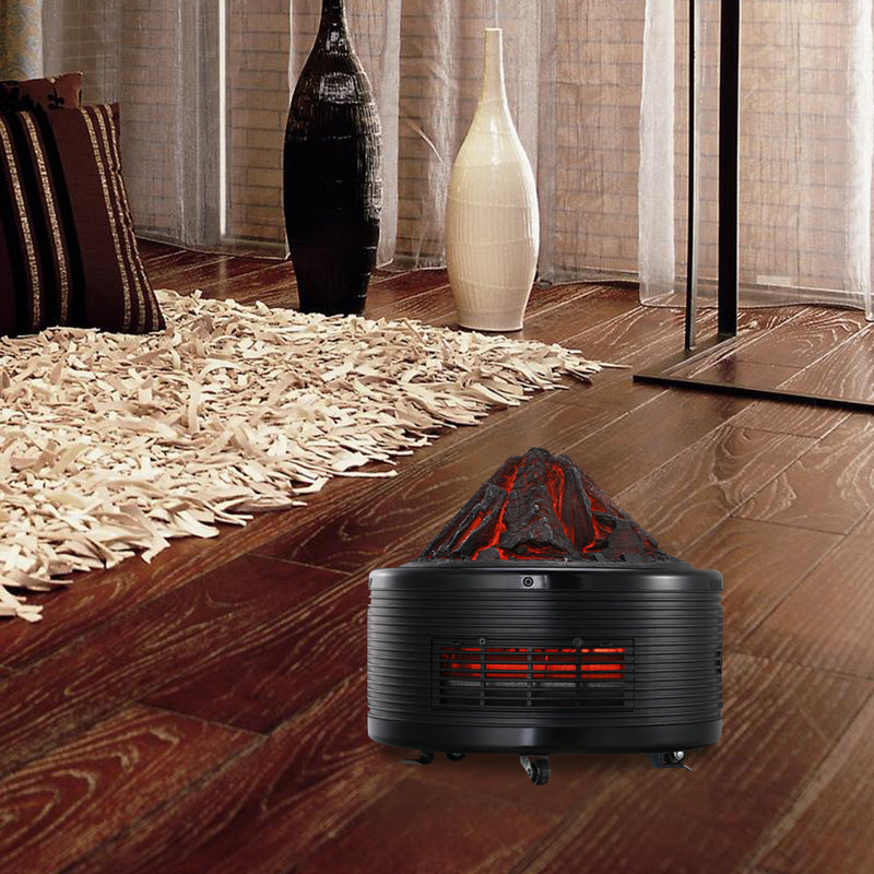Ainfox Portable Electric Heater 1500W 3 Quartz Infrred Tubes Thermostat WIth Remote Control Shape of a volcano Overheat protection 12 Timer