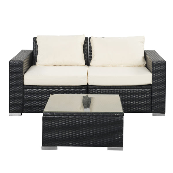 Outdoor Patio Furniture Sets PE Rattan Wicker Sofa Sectional with Beige Cushions