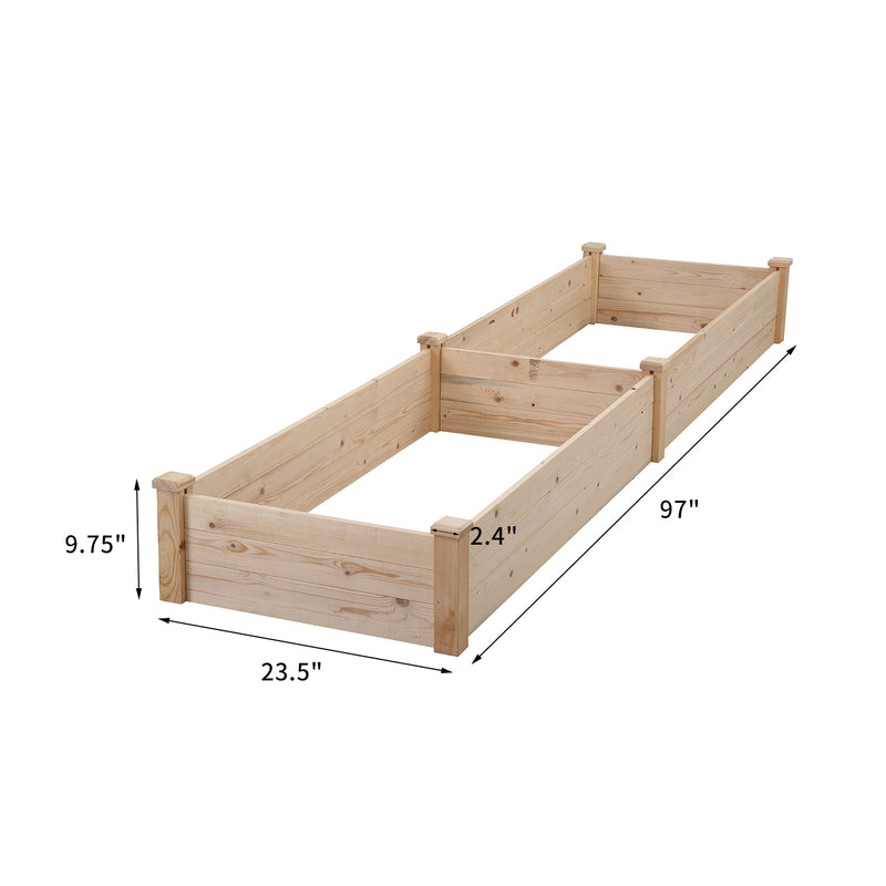 "Ainfox Wood Raised Garden Bed Vegetable Flower Planter,97""*24""*10,"