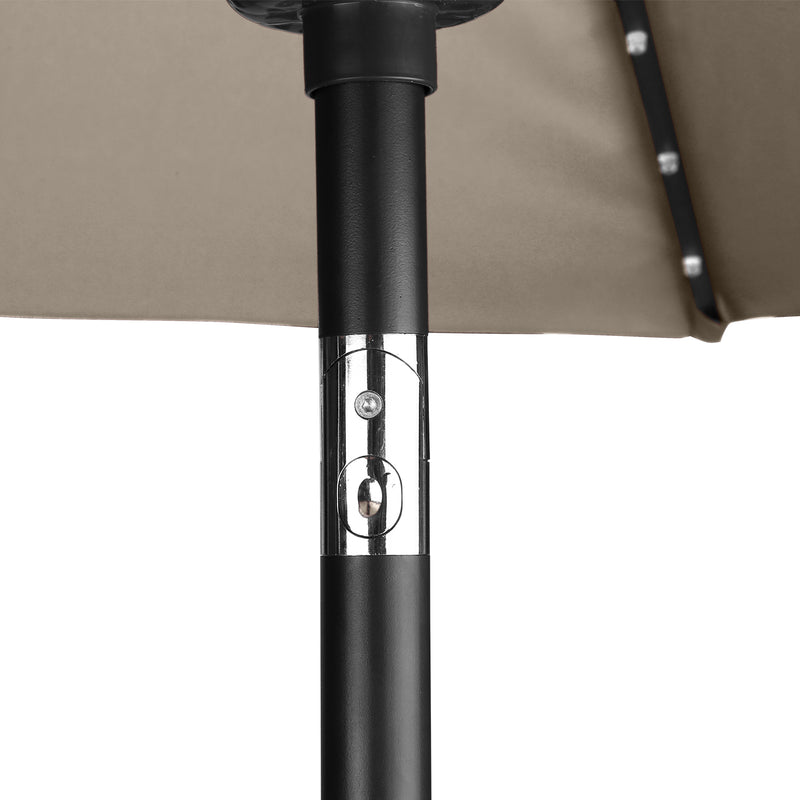 10ft Solar LED Lighted Patio Umbrella with Crank ,Manual Tilt, Fade Resistant Water Proof Fabric and Push Button