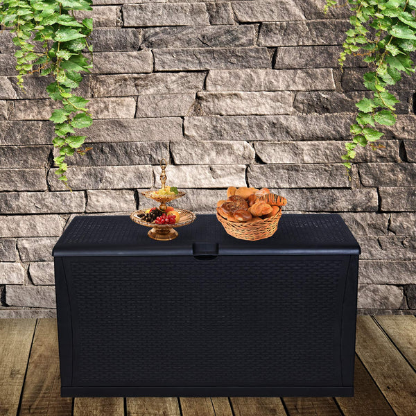 Ainfox Patio Storage Deck Box Outdoor Storage Plastic Bench Box