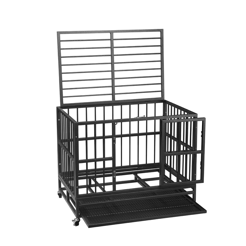 Ainfox Heavy Duty Dog Cage Crate Kennel Carbon Steel with Four Wheels for Large Dogs Easy to Install…