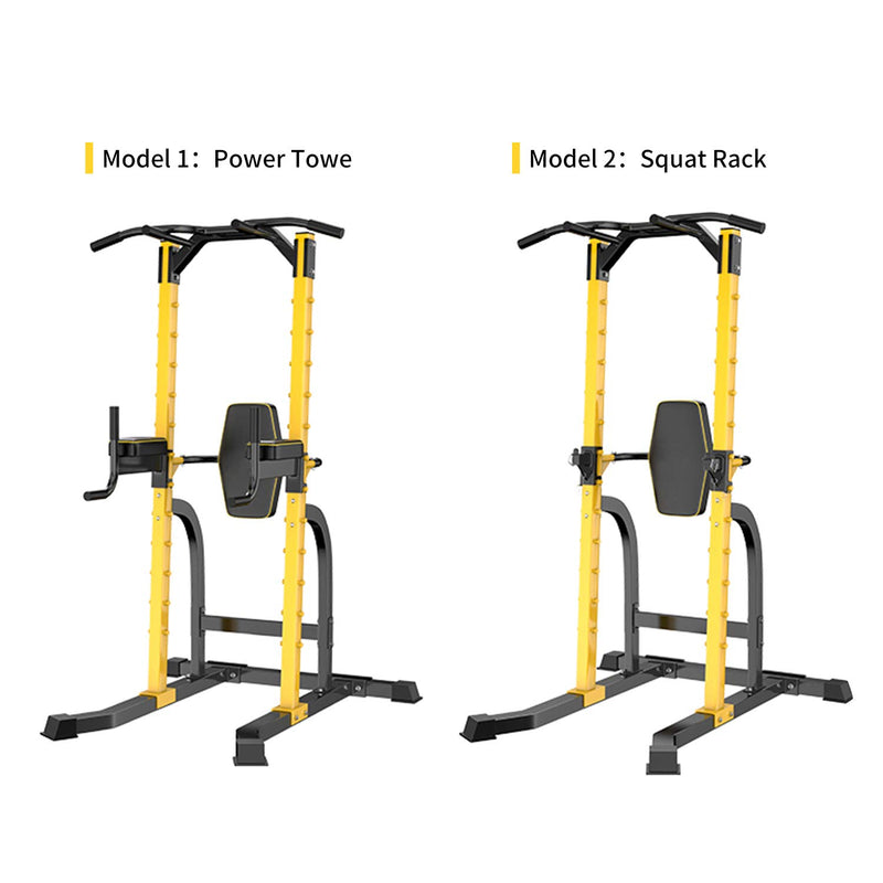 Ainfox Power Tower Multi-Function Home Strength Training Tower Dip Stands Workout Station Yellow