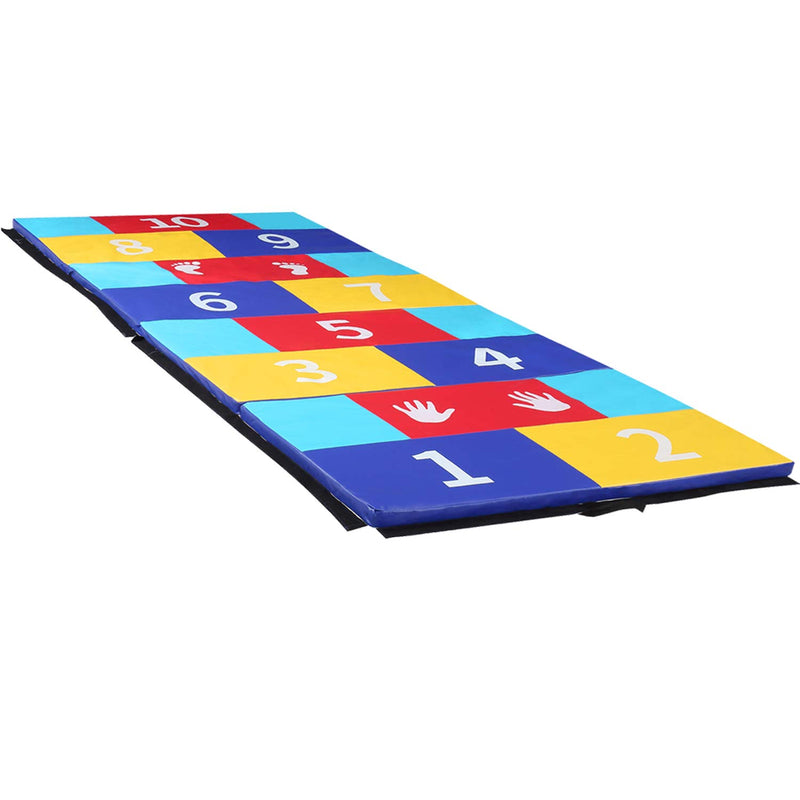 Wesfital Gymnastics Mat Folding Tumbling Mat Puzzle Play Numbers Exercise Mat for Kids PU Surface